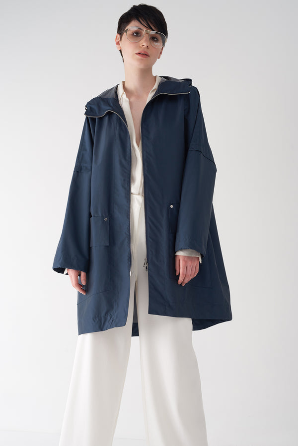 GWEN NAVY - Packable Oversized Raincoat