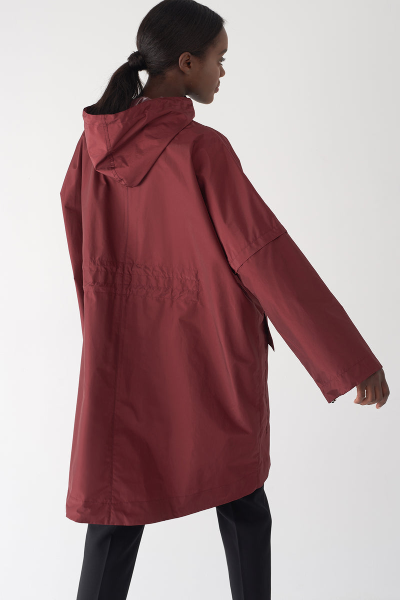 GWEN OXBLOOD - Packable Oversized Raincoat