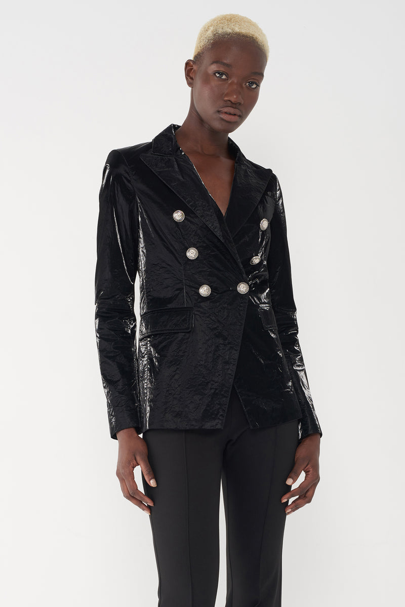 JEAN BLACK - SHINY MILITARY BLAZER