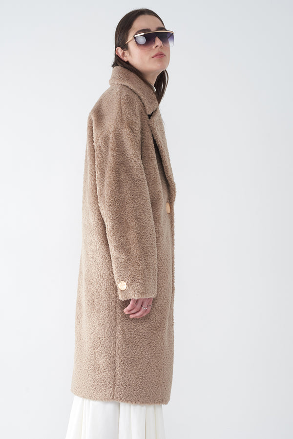 JILL OATMEAL - ALPACA FAUX FUR COAT