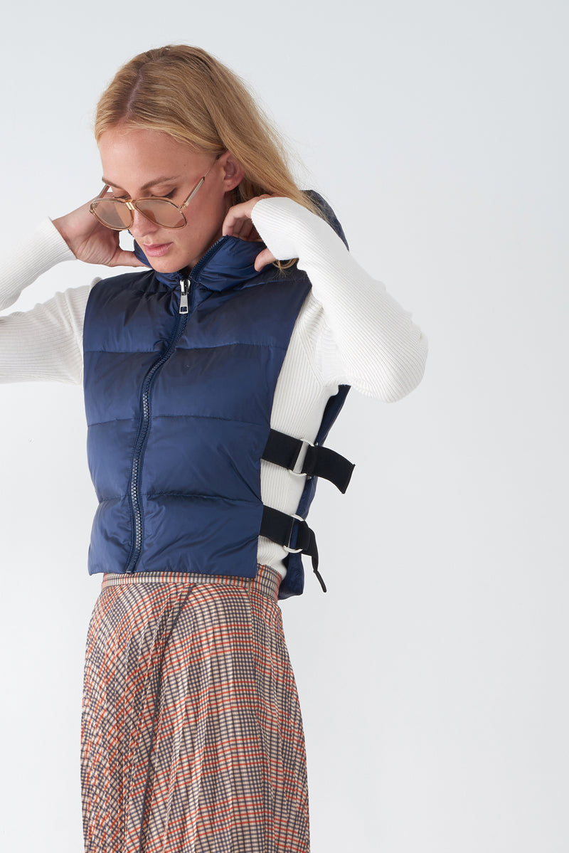 JOY NAVY - IRIDESCENT DOWN VEST