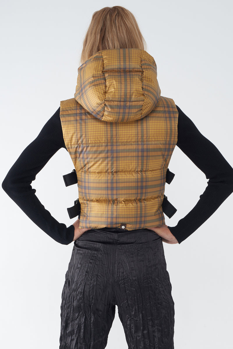 JOY - PLAID PRINT DOWN VEST