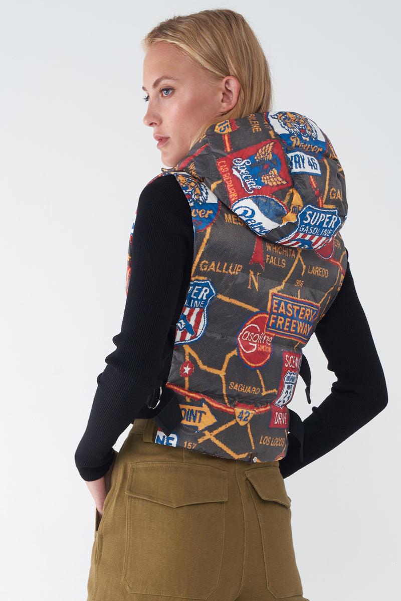 JOY - ROAD MAP PRINT DOWN VEST