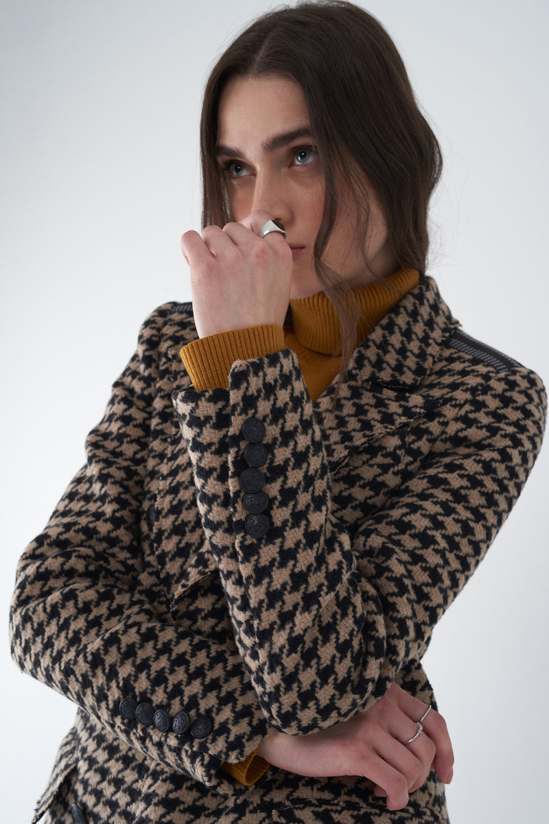 JULIE - HOUNDSTOOTH MILITARY-STYLE COAT