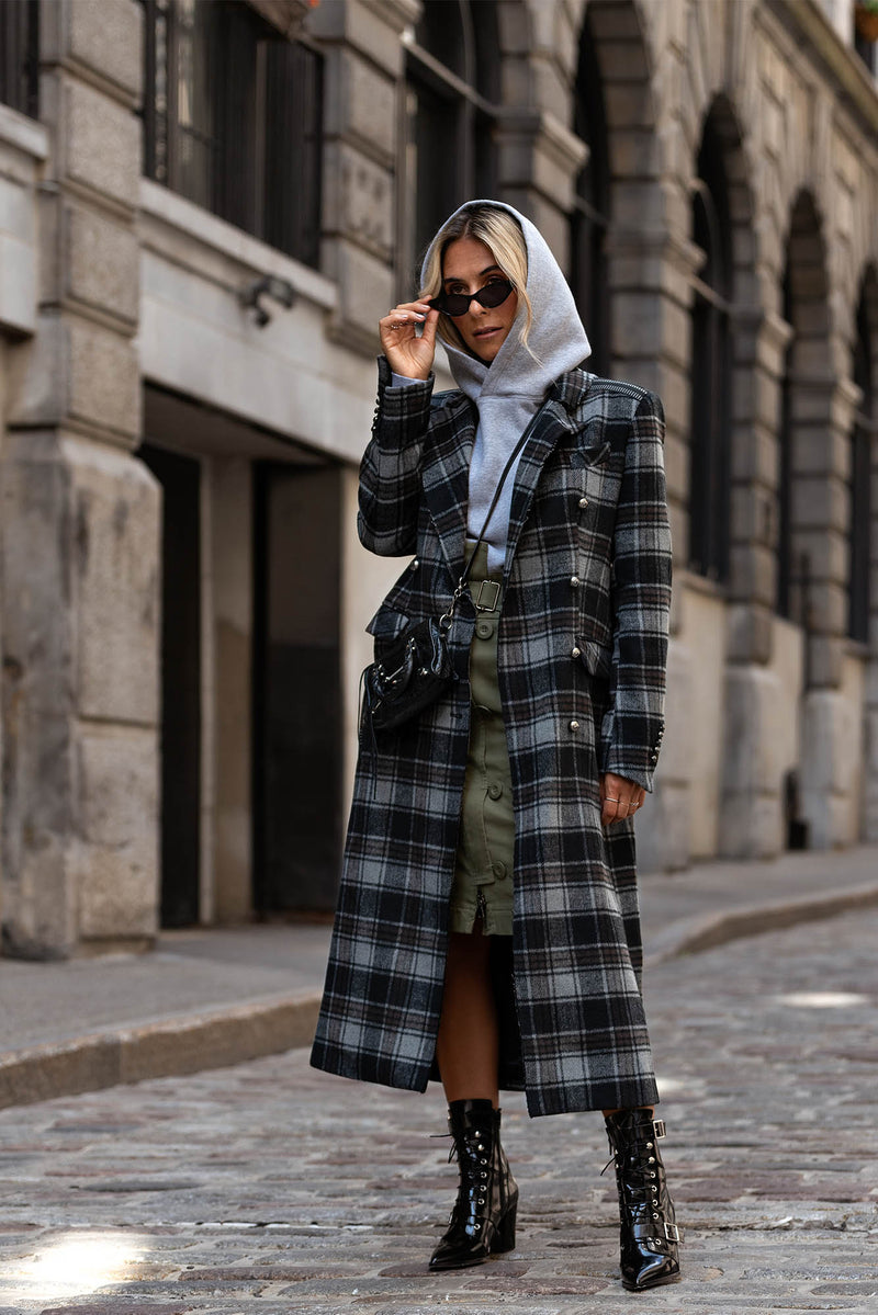 GIN - Long Structured Plaid Coat
