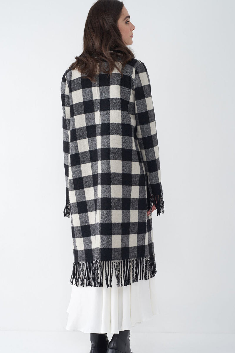 JASMIN BLACK - FRINGED PLAID DUSTER