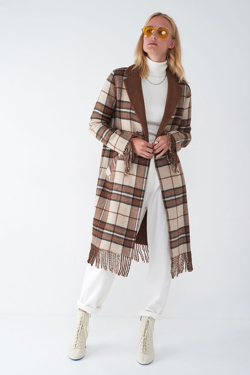 JASMIN TOBACCO - FRINGED PLAID DUSTER