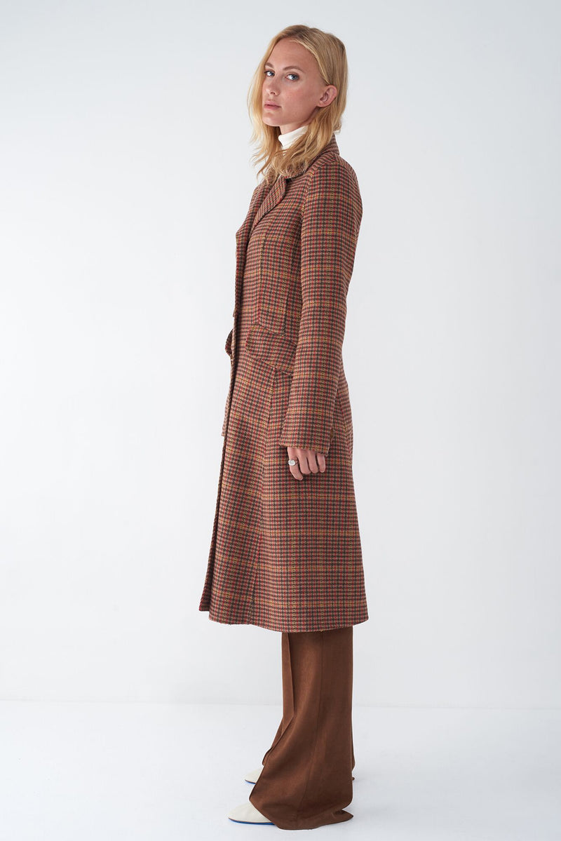 JIMI - HOUNDSTOOTH FIT & FLARE COAT