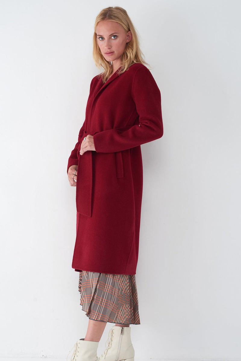 JOIE RED - WOOL TIE FRONT COAT