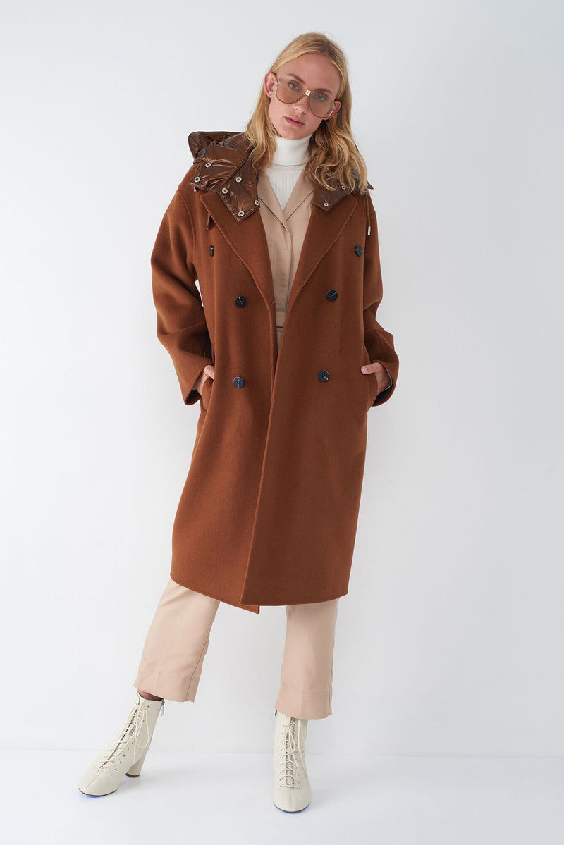 JUDE - OVERSIZED COAT WITH QUILTED HOOD