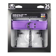 Crave Leather Collar With Nipple Clamp (Purple)