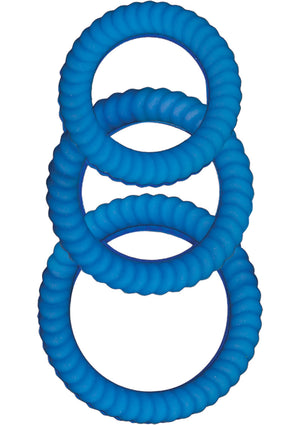 Ram Ultra Silicone Cocksweller 3 Cock Rings (Blue)