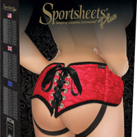 Sportsheets Plus Size Red Lace with Satin Corsette Strap-On