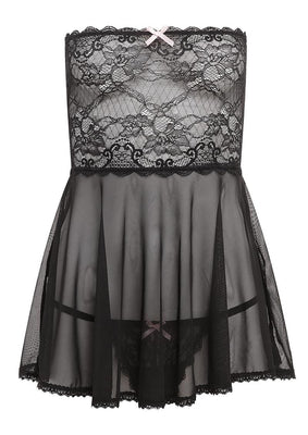 Barely B Mesh and Lace Baby Doll Black