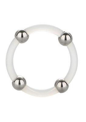 Steel Beaded Silicone Ring Lg