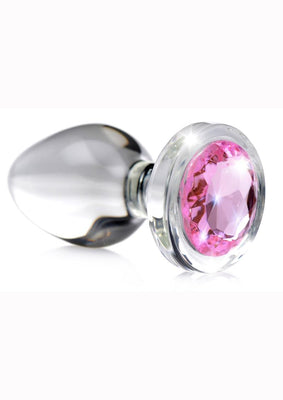Booty Sparks Pink Gem Glass Anal Plug - Small - Pink