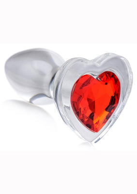 Booty Sparks Red Heart Glass Anal Plug - Small - Red