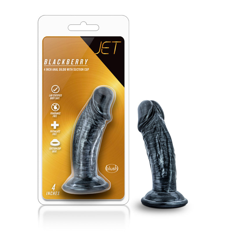 Jet - Ebony - 6in Dildo - Carbon Metallic Black