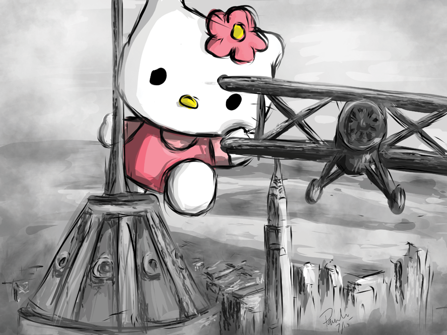 Hello Kitty King Kong (18 x 24 Print)