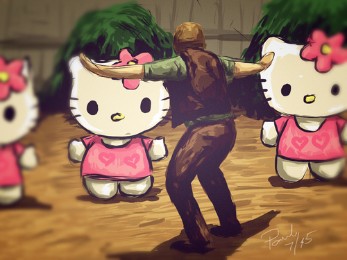 Hello Kitty Jurassic Park I (18 x 24 Print)