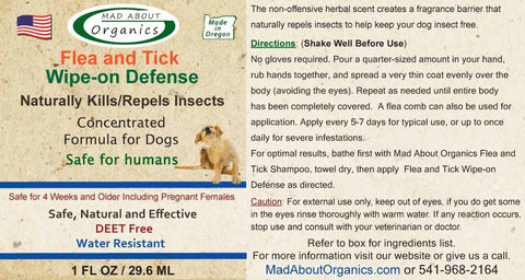 Mad About Organics Flea and Tick Wipe-on Defense 1oz