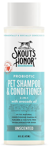 Skout's Honor Probiotic Unscented Pet Shampoo & Conditioner