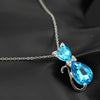 2017 NEW Austrian Crystal Cat Pendant Chain Necklace