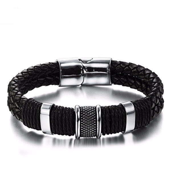 Elegant Men's Black Leather Stainless Steel Wrap Bracelet