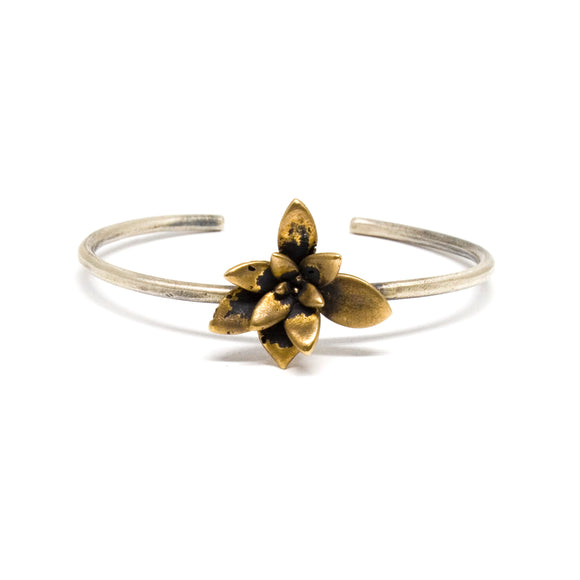 large single floral succulent cuff bracelet