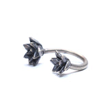 double floral succulent adjustable ring