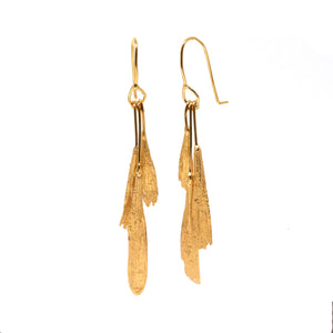 gold vermeil ash seed earrings: bunch