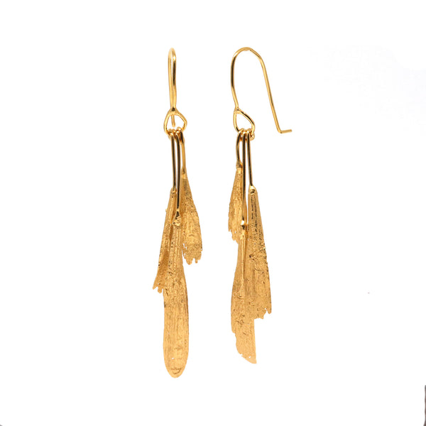 gold vermeil ash seed earrings: bunch- ready made