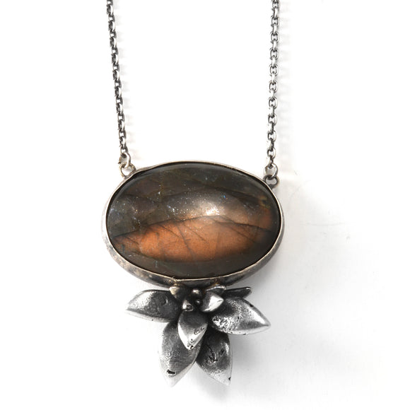floral succulent large stone necklace