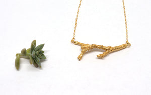 gold vermeil twig necklace