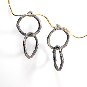 double willow ring earrings  in sterling silver for summer