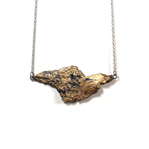 tree bark necklace: horizontal in bronze