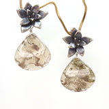 silver echeveria floral succulent stud earrings with moss agate drops