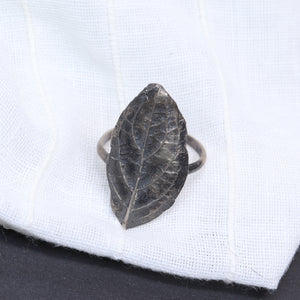 silver lost leaf shield ring