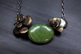 bronze double sedum floral succulent large stone necklace