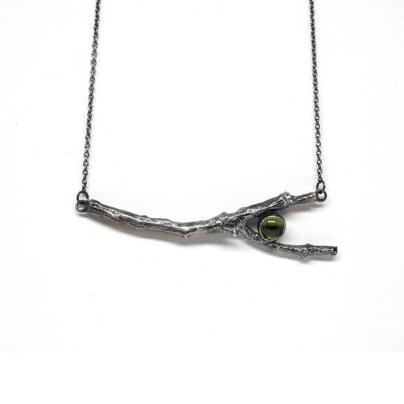 twig necklace with 6 mm stone