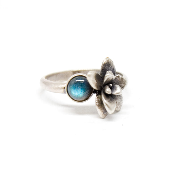 floral succulent stone ring