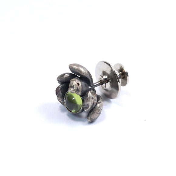 silver floral succulent and peridot pin or tie tack