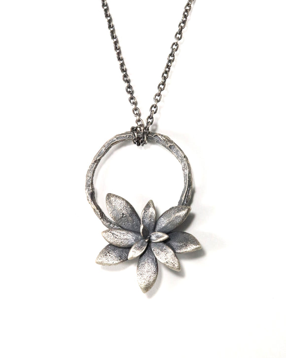 silver willow + floral succulent necklace