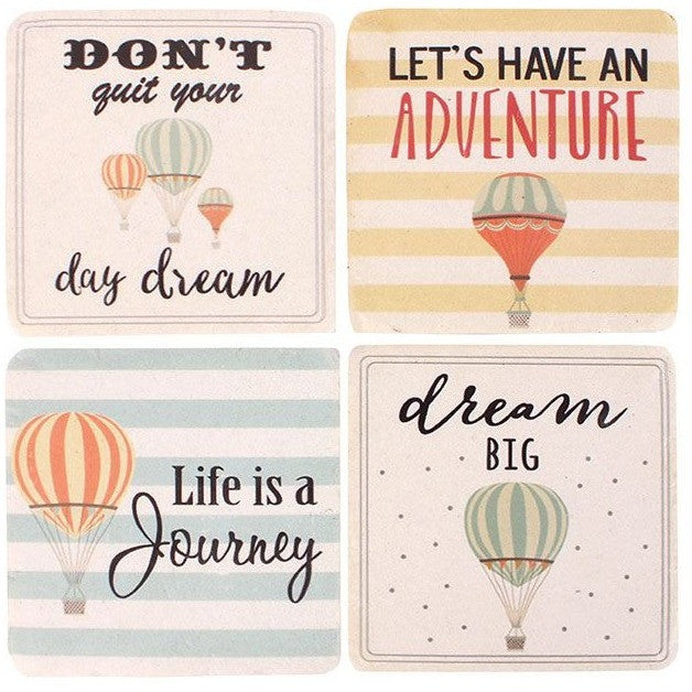 Each ceramic coaster features a different hot air balloon design and message.