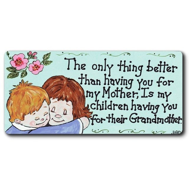 Flexible magnet has a light blue background and whimsical design depicting a drawing of a mother and son hugging.