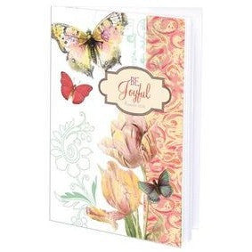 journal has flowers and butterflies on the cover along with the reminder to always 'Be Joyful.