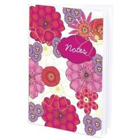 Mini-Journal With Pink, Red and Mauve Floral Design