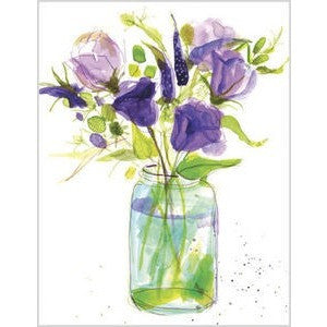 Cards depict a watercolor design featuring purple and green flowers on a white background.