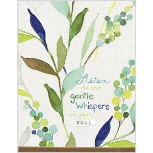 Note cards have a peaceful blue and green watercolor design and the message 'Listen To The Gentle Whispers Of Your Soul'.