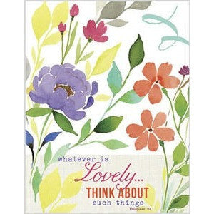 Designer Note Cards With Floral Design And Message 'Whatever Is Lovely...'